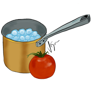Picture of copper pot and tomato