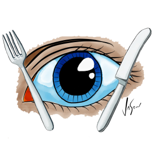 Picture of eye with knife and fork