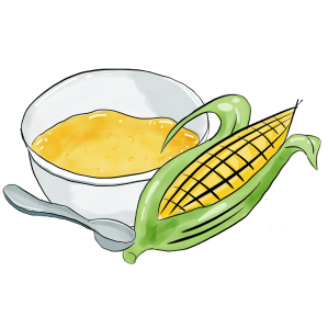 Picture of polenta in bowl with corn cobb and spoon