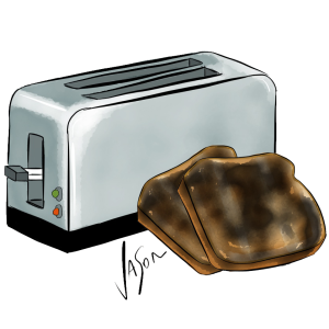 Picture of toaster with burnt toast