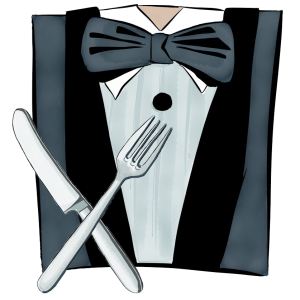 Picture of tuxedo with knife and fork