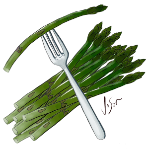 Picture of asparagus bundle and fork