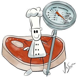 Picture of chef with steak and thermometer