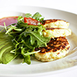 Link to recipe for corn fritters with avocado and rocket salad