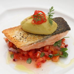 Picture of Crispy Skin Salmon with Avocado Mousse on Tomato and Caper Salsa