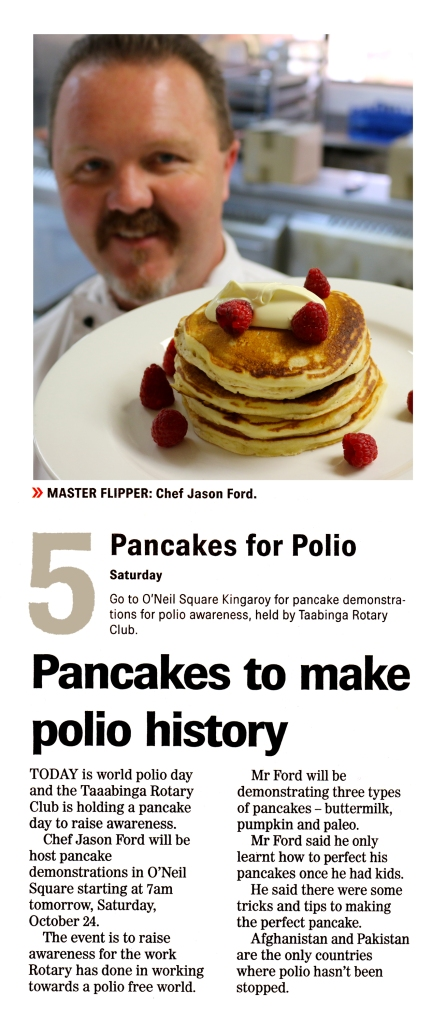 Link to article - 23/19/2015 - South Burnett Times (Pancake Breakfast for Rotary World Polio Day)