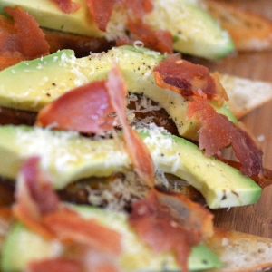 Picture of Avocado and Crsipy Pancetta on Bruschetta