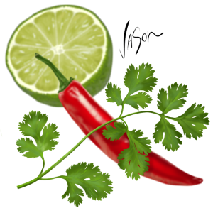 illustration of coriander with chilli and lime