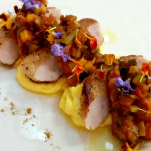 Image of Barkers Creek pork on creamy polenta with pumpkin ratatouille