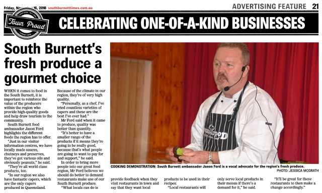 Link to article 16/11/2018 - South Burnett Times (Regional Produce)