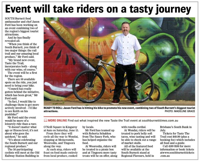 17/05/2019 - South Burnett Times Article (Taste The Trail)