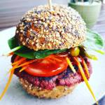 Link to recipe for black bean and beetroot burger
