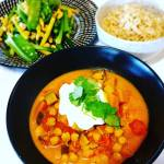 Link to recipe for Vegetable curry and sauteed green